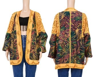Vintage 80s Peacock Feather Print Jacket Bohemian Avant Garde Embroidered Boho Cotton Jacket Metallic Gold Large L