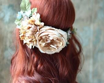Rustic hair wreath, beige flower crown, floral headpiece, flower circlet, woodland bridal hair wreath, wedding hair accessories