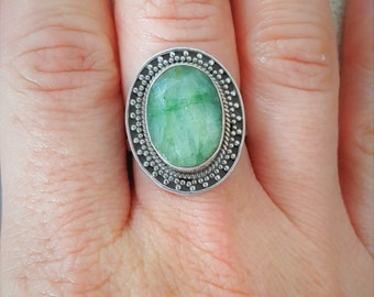 New Listing Sale...Beautiful Emerald Oval Balinese Ring Size 8. Large Emerald Ring 925. Emerald Green Sterling 925 Ring.  Statement Ring 925