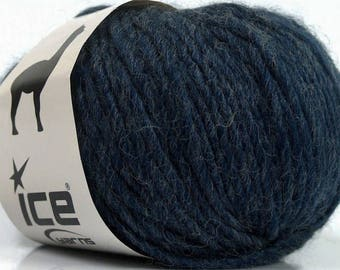Peru Alpaca Bulky Yarn Navy Heather - Dark Blue -  #48700 Ice Merino Wool Alpaca Acrylic 50g 65y