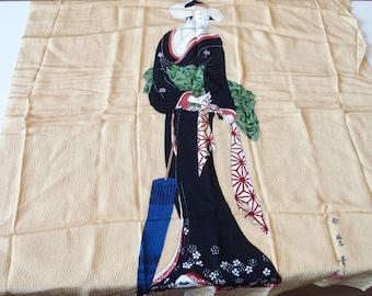 Furoshiki With Japanese Ukiyoe Bijin Kimono Female Design Wrapping Cloth Caramel Colored