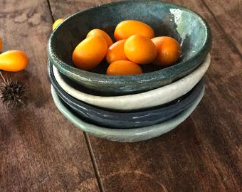 Ceramic set of bowls -  Pottery prep bowls - Blue pottery - Housewarming gift -  Rustic kitchen - Serving bowls -