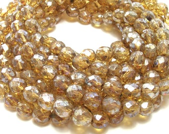 Light Topaz Picasso Rounds (8mm) - Glass Firepolished Czech Beads