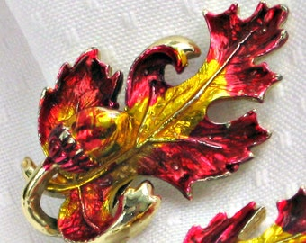 Oak Leaf Acorn Earrings Vintage 60s Earrings Red Yellow Enamel