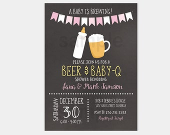 Baby-Q Girl Barbecue A Baby Is Brewing Baby Shower Invitation | Pink CoEd Girl Baby Shower | Printable Baby Shower Invitation bs-118