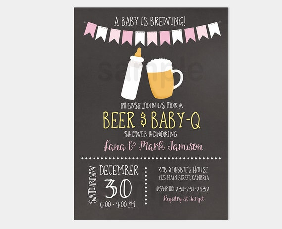 Baby q girl barbecue a baby is brewing baby shower invitation pink il570xn filmwisefo
