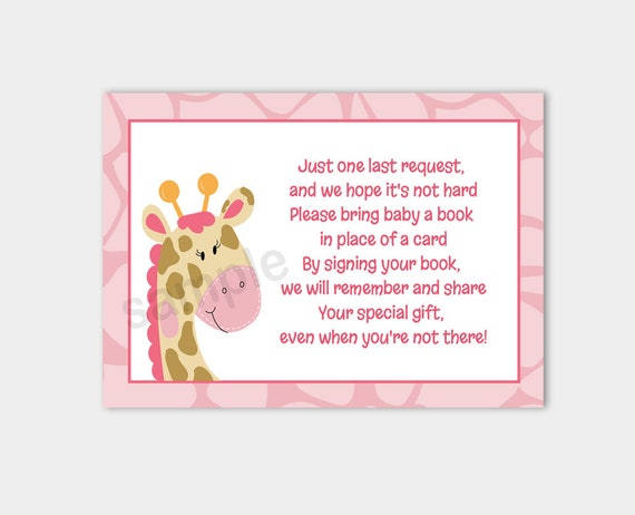 pink giraffe jungle jill baby shower book request enclosure cards, Baby shower invitations