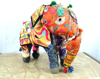 Vintage Embroidered Ethnic WOW Weird Stuffed Elephant
