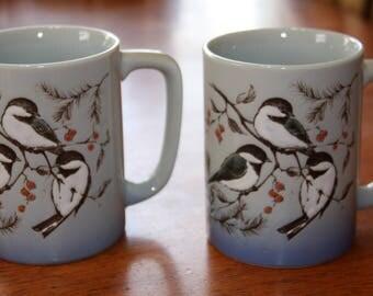 Vintage OTAGIRI CHICKADEE Coffee Cup MUG Beautiful Birds Set of 2 Japan