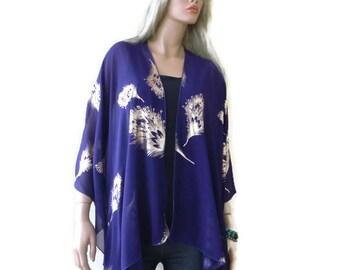 Rich Purple Boho Kimono cardigan -Purple and gold-Chiffon Ruana cardigan-Gorgeous