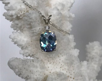 accented light blue Mystic topaz pendant in sterling silver