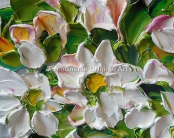 Flower Painting Oil  White Wildflowers Home Decor