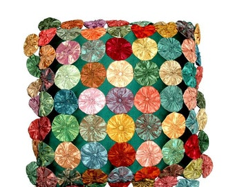"VINTAGE POPCORN PILLOW, 77 rosettes, handmade old fashioned 14 1/2"" square,green,apricot,mint,aqua,blue,tan,orange,rust,yellow,marigold"