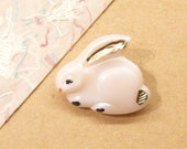 Bunny Button, Rabbit Button, Glass Button, ANIMAL CHARITY DONATION