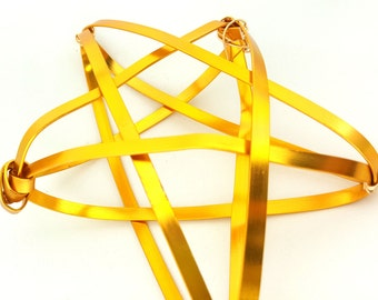 Gold Star Tree Topper -  metal star handmade tree topper - small / medium - golden 1212D