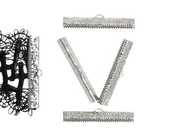 16pcs.  40mm ( 1 9/16 inch ) Platinum Silver Ribbon Clamp End Crimps - Artisan Series