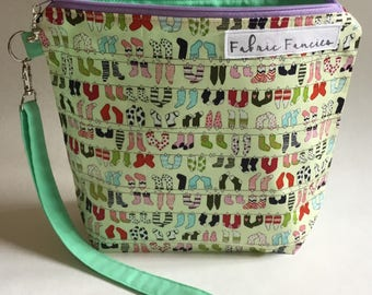 Project bag sock pouch zipper bag cute yarn bag crochet knitting project
