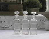 Collection of 3 Antique Apothecary Jars, Patent 1889 Clear Glass Medicinal Bottles with Thumbprint Stoppers, Space for Label