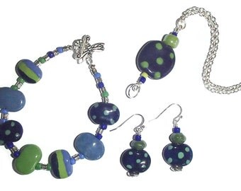 Kazuri Bead Set. Kazuri Green and Blue. Kazuri Necklace. Kazuri Bracelet. Kazuri Earrings