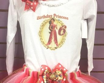 Elena of Avalor Birthday Shirt Tutu Dress Hairbow Outfit