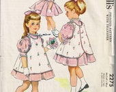 50s Girls Drss and Pinafore Pattern McCalls 2275 Size 6 Spring Dress Puffed Sleeves With Rosebud Transfer Vintage 1958 Sewing Pattern