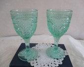 Green wine goblets set of 2