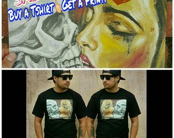 Art print - tshirt - dia de los muertos art - chicano art