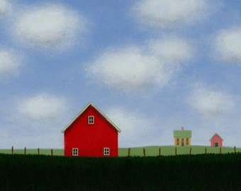 Red BARN PAINTING 5 x 7 Country Landscape Painting Farm painting Farmhouse Painting  Fine Art Gift Modern Barn Painting  Folk art painting