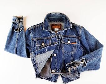 80s Vintage Jean Jacket JORDACHE Denim Jacket Cropped Denim Jacket ZIPPER Sleeves & Back Vee Back Denim Blue Jean Jacket Dark Wash XS / S