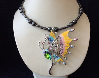 Multicolored rhinestone butterfly hand beaded magnetic hematite choker necklace