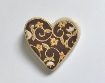 Earth Tones, Heart Pendant with Flowers and Leaves,  Heart Focal Bead, Heart Pendant Bead, Golem Studio Designs