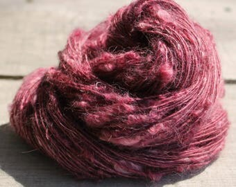 Handspun Kid Mohair Boucle - Cranberry Burgandy Pink Kid Mohair yarn