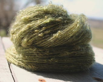 Handspun Kid Mohair Boucle - Moss Green Kid Mohair Art Yarn