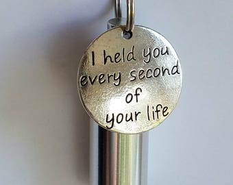 """Baby/Infant CREMATION URN NECKLACE with """"I held you every second of your life"""" Charm - Includes Velvet Pouch, Ball Chain, Fill Kit"""