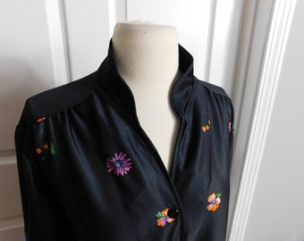 Vintage 70s 1970s Groovy Black and Floral Print Silky Feel Blouse - Ruffle Cuffs - Size Large