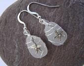 Sterling Silver Starfish Earrings - White Sea Glass Earrings - Sterling Silver Wire Wrapped