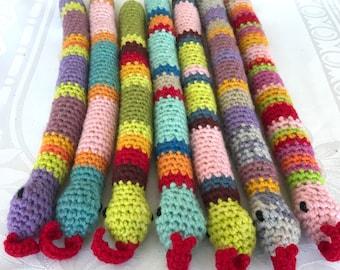 Catopia9, NEW Spring Line Fiesta, Certified Organic Catnip/Valerian Cat Toy SNAKE, hand-crochet, high quality wool/bamboo yarn.