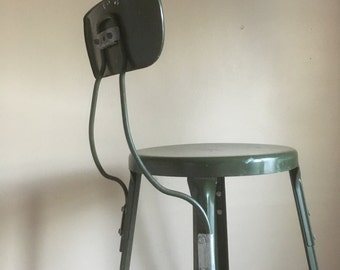 Vintage Green Industrial Stool with Backrest