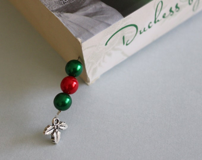 Christmas Holly Beaded Bookmark/ Book Thong.