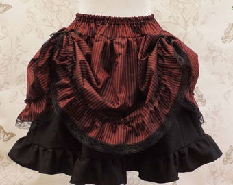 Gothic steampunk bustle  skirt- red black stripes skirt- saloon skirt- burlesque skirt-pirate-costume