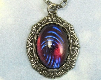 Purple Dragon Breath Vintage Glass Fire Opal Pendant Necklace with Antique Silver Chain and Gothic Setting