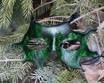 Green Oak Leaf Leather Mask