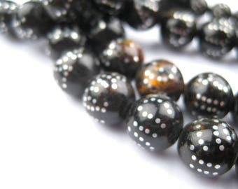"""99 """"99 Names of Allah"""" Silver Inlaid Black Coral Arabian Prayer Beads: Coral Prayer Beads Organic Beads Eco-Friendly Beads (ARB-RND-BLK-122)"""