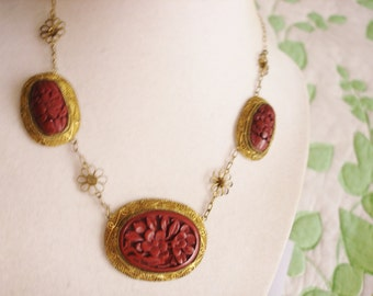 """Red Cinnabar Necklace Gold Tone Clasp 17"""" x 1.25"""""""