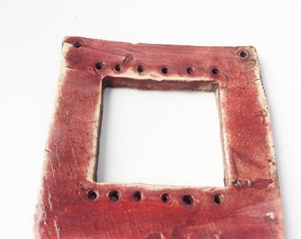 Pottery for Weaving Window rectangular loom style, Plain, Unpatterned, Red