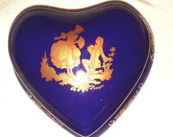 Limoges  style Heart shaped Porcelain Box, Pill Box, Limoges marked Keepsake