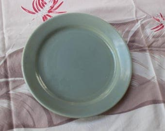 """Bauer Pottery La Linda Dinner Plate Glossy Gray 9.5"""" California 1950 Green Turquoise VINTAGE by Plantdreaming"""