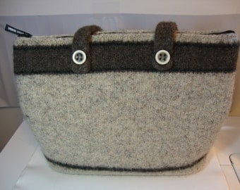 Felted laptop bag/briefcase/purse in oatmeal beige and brown   - with lining and zipper pockets