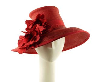 Kentucky Derby Hat, Red Hat, Wide Brim Hat, Womens Summer Hat, Straw Hat for Women, Ladies Hat, Sun Hat, Occasion Hat Wedding Hat Easter Hat