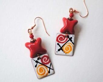 Colorful Earrings, Copper Enamel Earrings, African Kazuri Earrings, Abstract Earrings, Ceramic Earrings